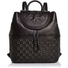 Tory Burch Fleming Backpack (1.890 BRL) ❤ liked on Polyvore featuring bags, backpacks, day pack backpack, leather drawstring bag, leather knapsack, drawstring backpack bag and quilted leather backpack