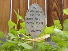 Not everything can be made on a paper plate in the microwave - large garden spoon