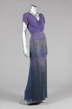 Mainbocher Modes labelled purple satin-backed crepe evening gown, late 1930s
