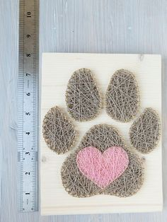 Dog leash or key holder or custom dog paw wall decor art sign for entryway, dog collar holder, perfect dog lover gift Heart in paw wall decoration for dog or animal lovers, perfect gift for animal person, paw in heart String Wall Art, Nail String Art, String Crafts, String Art Heart, Heart Art, Diy Yarn Holder, Arte Linear, String Art Patterns, Doily Patterns