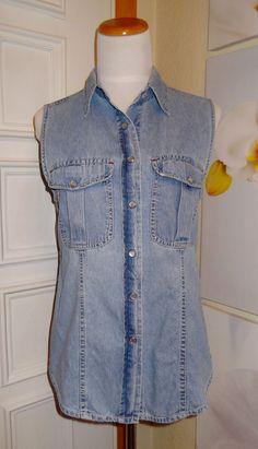 Womean Jr's Button Down ~snap close~ Sleeveless Jean Denim Shirt S #AtLast #ButtonDownShirt