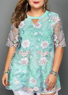 Best Fashion Ideas : Plus Size Keyhole Neckline Faux Pearl Embellished Blouse Plus Size Blouses, Plus Size Dresses, Plus Size Outfits, Skirt Fashion, Fashion Outfits, Womens Fashion, Plus Size Tips, Mod Dress, Peplum Dresses