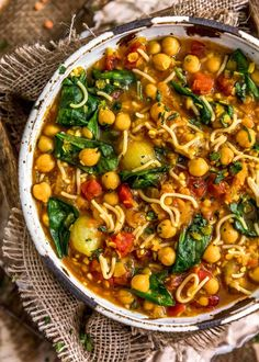 Fragrant and delicious, this soul-warming, oil-free Moroccan Harira is ultra-comforting, easy to make, and a delightful nod to the Moroccan cuisine. #wholefoodplantbased #vegan #oilfree #glutenfree #plantbased | monkeyandmekitchenadventures.com Clean Eating Recipes For Dinner, Healthy Dinner Recipes, Whole Food Recipes, Moroccan Dishes, Vegan Party Food, Middle Eastern Recipes, Natural Spice, How To Cook Pasta, Minced Onion