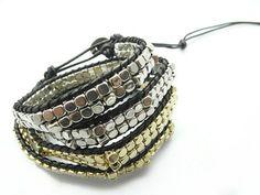 22.40 euro incl shipping New Pure handmade leather strand Wrap Bracelets  Silver Gold Bead bracelets Fashion Jewerly Wholesale 6 pcs/Lot