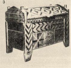 3. Vörössel, feketével színezett (Baranya m., 19. sz. első fele) Bp. Néprajzi Múzeum.