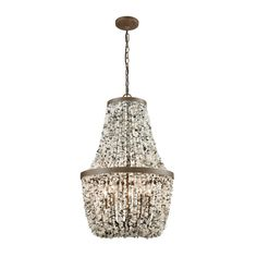 Agate Stones 5 Light Chandelier In Weathered Bronze With Gray Agate Stones 65308/5