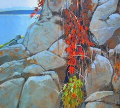 From Quathiaski Cove, Quadra Island by Robert Genn SFCA presented by Hambleton Galleries Canadian Painters, Canadian Artists, Abstract Landscape, Landscape Paintings, Landscapes, Coastal Paint, Art Pictures, Art Pics, Photos