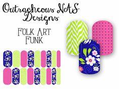 Outracheous custom Jamberry Nail art studio design floral chevron