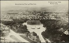 The Royal Palace in Oslo, 1906 by National Library of Norway (Kristiana,Norway, from a balloon) Oslo, Kingdom Of Sweden, Trondheim, School Photos, Royal Palace, Old Postcards, Picture Photo, Norway, Paris Skyline