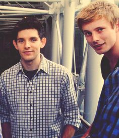 Colin Morgan and Bradley James. Love them! It makes me so sad that their series ended! RIP Merlin!