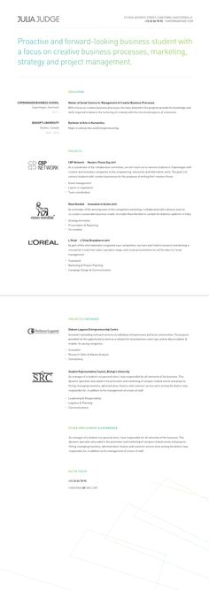 Resume Resume cv and Business cards - business student resume