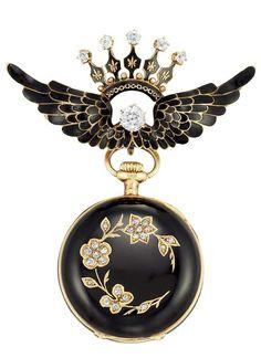 Antique Gold, Black Enamel and Diamond Lapel Watch 18 kt., 6 diamonds ap. .55 ct., cuvette signed Swiss, no. 22719, movement signed J.C. MacDonald, Baltimore, c. 1890.