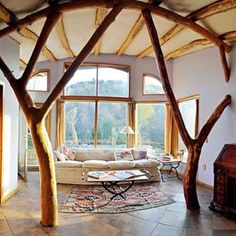 Use of natural rough materials, tree-like poles holding up the structure and wood framed windows for sustainability and adds to the design in terms of texture, color and organic lines. Good use of natural light with very tall windows that go up to the ceiling and glass doors (notice there is only one lamp next to the sofa for night time).