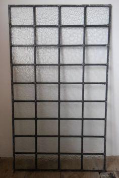 Large Leaded Obscure Glass Window Panel