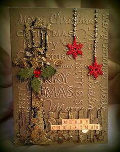 christmas card created used stampendous mica fragments tim holtz dies with our snowflake charms