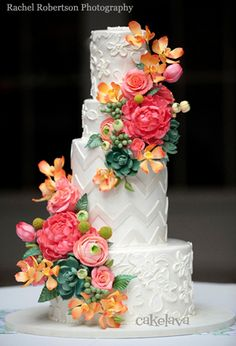 Floral Wedding Cakes Textured wedding cake: A white wedding cake with chevron and floral tiers decorated with faux pink and orange peonies, roses and succulents. Floral Wedding Cakes, Floral Cake, Wedding Cake Designs, Purple Wedding, Spring Wedding, Gold Wedding, Gorgeous Cakes, Pretty Cakes, Amazing Wedding Cakes