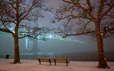 Snowy, foggy, NYC, NY