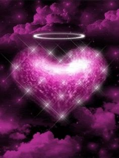 Angel Heart - animated-hearts, animated-love, purple-glitter, animated-angel, purple-heart, animated-romance, cool-and-cute