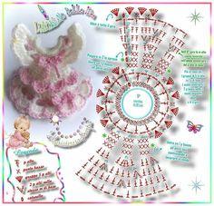 ¤*L'ARCoBaLeNo DeLLe IDee*¤: Mini vestina *BaMBoLiNa* with some modifications it would work on a clothpin doll . Crochet Diagram, Crochet Chart, Crochet Motif, Crochet Flowers, Crochet Patterns, Crochet Gifts, Crochet Dolls, Diy Crochet, Crochet Baby