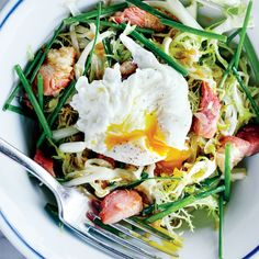 Frisée-Lardon Salad - Buying slab bacon rather than sliced allows you to cut it into the perfect size and shape. http://www.bonappetit.com/recipe/frisee-lardon-salad