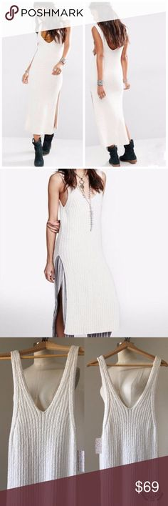 """Women's Free People Rib Sweater Dress M Women's Free People Rib Sweater Tunic RETAIL PRICE: $128 STYLE NO. OB505268 NWT (may have free people OR store tags) COLOR: Ivory SIZE: M LENGTH: 51"""" BUST: 30"""" HIP: 34"""" SLIT LENGTH: 23"""" Machine wash cold. Fabric: 96% Cotton, 4% Nylon  PRICE FIRM unless bundled. Supersoft sweater tunic you want to live in every day. Modern lean cut with deep V-neck, narrow straps, high slits and chunky textured knit. Pair with your fave super flares or dare to go bare…"""