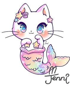 cat mermaid mermaidtail kitty kawaii cute pastel rainbo... Easy Animal Drawings, Cute Cartoon Drawings, Cute Kawaii Drawings, Kawaii Doodles, Easy Drawings, Cute Disney Wallpaper, Cute Cartoon Wallpapers, Kawaii Wallpaper, Kawaii Anime