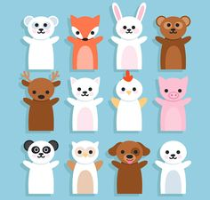 12款可爱动物手偶矢量素材