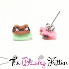 Pudding Kitten Stud Earrings, Steel Studs, Felt Studs, Pudding Studs, Felt Pudding Kitten Stud Earrings, Customised, Pudding Earrings, Cute by TheBlushyKitten on Etsy
