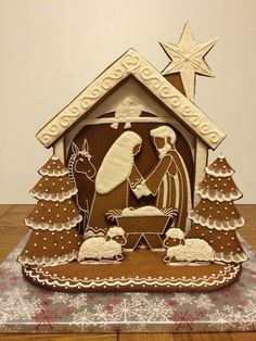 Make your own Gingerbread Nativity with this tutorial, includes pattern. Elaine's Sweet Life: Gingerbread Nativity {Tutorial} LOVE THIS Christmas Goodies, Christmas Treats, Christmas Baking, Christmas Holidays, Christmas Decorations, Italian Christmas, Christmas Printables, Christmas Christmas, Christmas Trivia