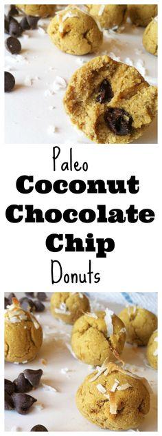 Paleo Coconut Chocolate Chip Donuts! Yum Yum! #glutenfree #vegan #paleo