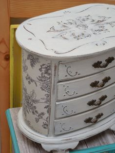 White Wood Jewelry Box Hand Painted Decopage in Black by Eweniques, $99.00