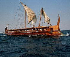 The Olympias - a full-scale replica of a 170-oared trireme. The trireme was crucial to Greek victory at the Battle of Salamis.