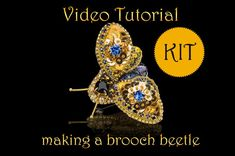 DIY jewelry kit containing a video tutorial and all necessary to make a unique moth brooch. DIY jewelry kit, video tutorial how to make moth brooch, insect jewelry with embroidery Diy Jewelry Kit, Jewelry Making Kits, Handmade Jewelry, Beaded Jewelry, Jewelry Bracelets, Embroidery Jewelry, Beaded Embroidery, Hand Embroidery, Beading Patterns