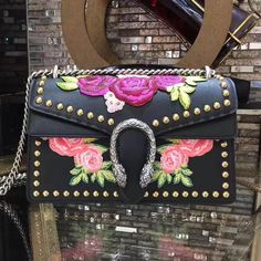 Gucci Dionysus Studded Leather Embroidered Floral Appliqués Shoulder Bag 400249 Black 2017 ] : Real Bag Sale Gucci Floral Bag, Black Gucci Bag, Floral Bags, Canvas Handbags, Cheap Handbags, Purses And Handbags, Designer Bags For Less, Embroidered Bag, Cute Purses