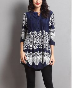 Look what I found on #zulily! Navy Lace-Print Notch Neck Pin Tuck Tunic #zulilyfinds