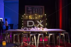 Wood Crates Shelfs with Edison Light Bulbs, Wood Table with Rustic Accessories by DX Design