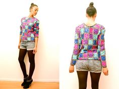 Vtg 80's Sequined Colorful Trophy Zip Up Top  http://www.etsy.com/shop/LuluTresors
