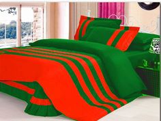 Xmas 14'' 7Pc Stripped Oly. Queen Orange & Lt Green Duvet / Quilt Cover Set