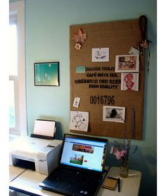 Upgrade your dorm room bulletin board. Use burlap, linen or canvas to cover your basic dorm room bulletin board. If you have a local coffee shop that roasts its own beans, you could ask to have (or buy) one of their old burlap sacks — or pick up a cheap canvas drop cloth at the hardware store. Use a staple gun or finishing nails to affix the fabric to your board.