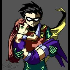 This is just a little painting I did of Robin and Starfire from Teen Titans the other day. Robin and Starfire take 1 Robin Starfire, Teen Titans Starfire, Nightwing And Starfire, Teen Titans Go, Teen Titans Fanart, Teen Titans Robin, Dc Couples, Cute Anime Couples, Teen Titans Animated Series