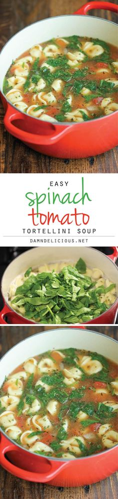 Spinach Tomato Tortellini Soup-The easiest, most comforting and hearty soup ever. 5 min prep.