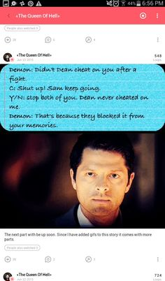 "Open rp, be Dean, Romance)) I looked at Cas, i felt hurt. Sam finished and the demon left you. You looked at me. ""I'm so sorry..."" you said with a whisper. I shook my head no and ran out the door of the bunker. Slamming it behind me, i started to walk on the streets. Not planning on coming back, you cheated on me ans then Cas removed it from my memories. I heard you calling my name, i cursed and started to run again. You came up running behind me, you caught me, pulling me close to you, as…"