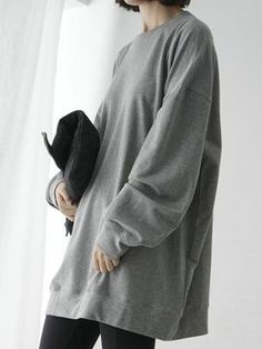 Shop Grey Loose Longline Sweatshirt from choies.com .Free shipping Worldwide.$18.99