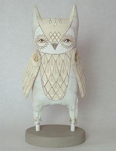 White Owl-- Original Contemporary Folk Art Doll