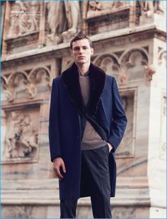 Christopher Campbell outfits Tommaso de Benedictis in a fall look by Tombolini.