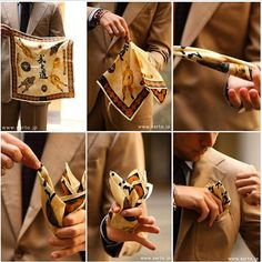 """putthison: """"Folding a Larger Pocket SquarePocket squares don't have to fit you like a shirt or suit would, but sizing them right can still be tricky. A lot depends on how you wear your square (folded neatly? Stuffed spazzaturrally?) and the fabric. A..."""