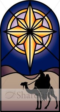 This is an illustration of a stained glass window with the Star of Bethlehem and a Nativity-inspired setting. This can be used to represent the Christmas holiday season and to announce church holiday events and activities.