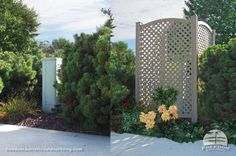 Vinyl privacy screens hide backyard eyesores and make a great backdrop for flowers and climbing plants. Freedom fencing built by Barrette and manufactured exclusively for Lowe's.
