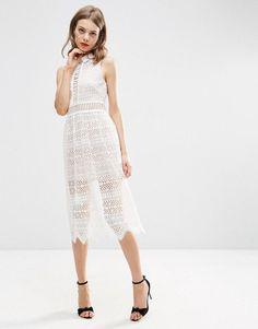 ASOS COLLECTION ASOS Lace Collar Geo Lattice Midi Dress