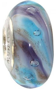 Fenton Artisan Crafted Glass Bead Winter's Symphony - Sterling Silver Lined